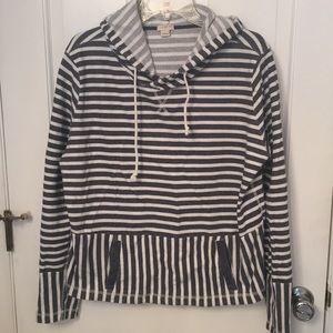 J Crew hooded stripe slouchy sweatshirt